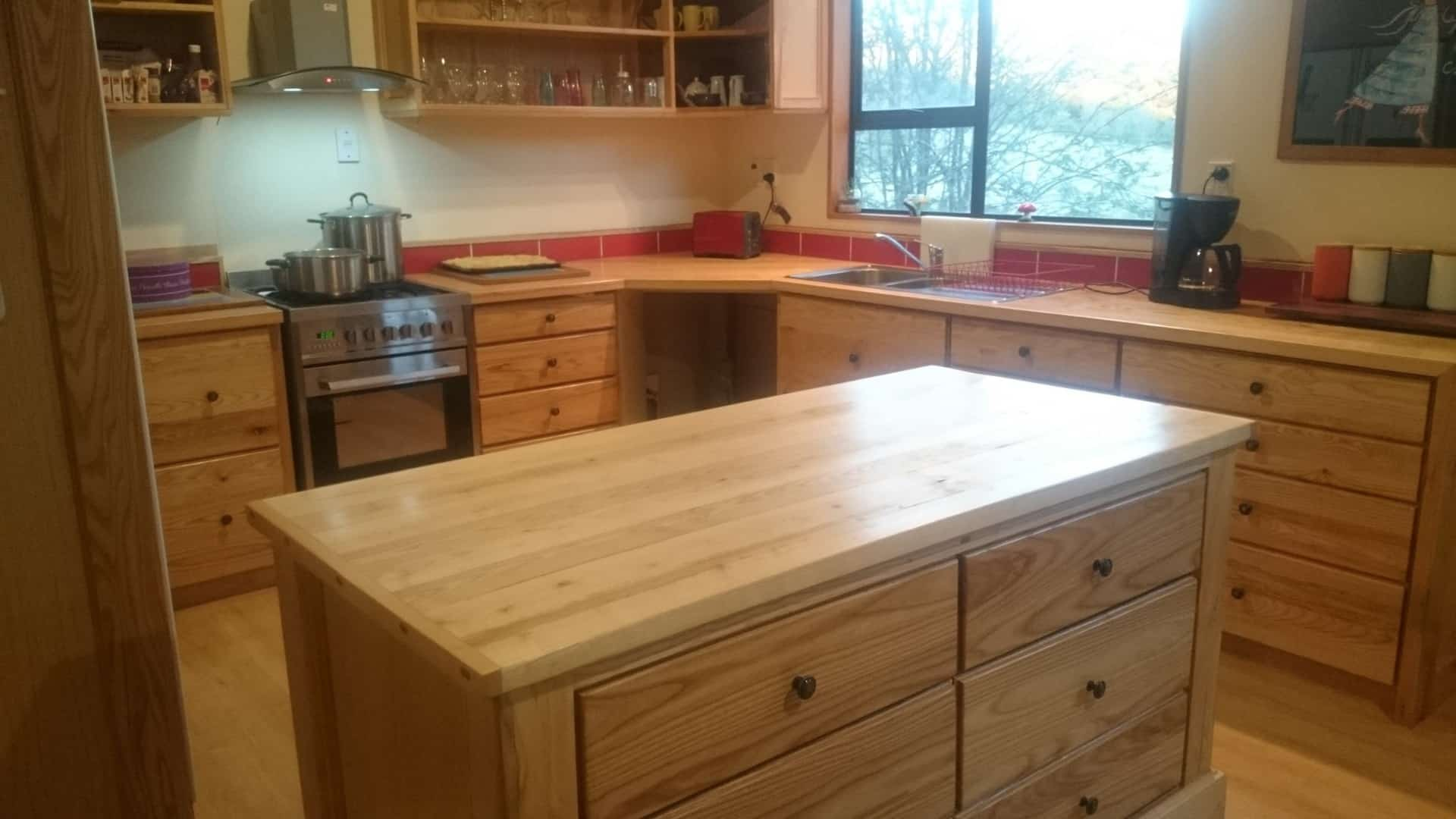 Solid Ash Kitchen with Island Bar