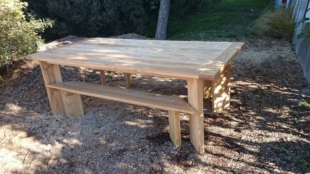 European Ash Dining with Bench Seats to fit underneath