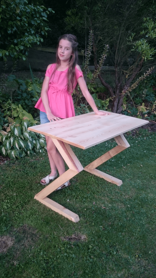 """""""The Walking Table"""" Brie designed and made her white ash desk."""