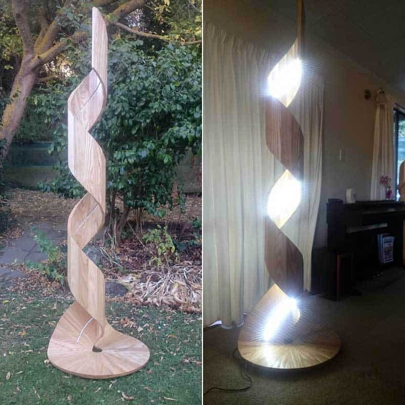 "Spiral of Light - Tōrino o te mārama  Part of a series of lamps collectively called ""The Climb"". They symbolise the courage, tenacity, patience and creativity of the Christchurch people during and after the 2011/12 earthquakes and the long journey of rebuilding the city."
