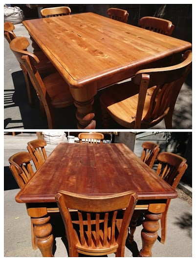 After and Before Shot of Restored Rimu Dining Suite