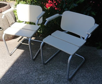 Antique chairs with parts replaced and repainted