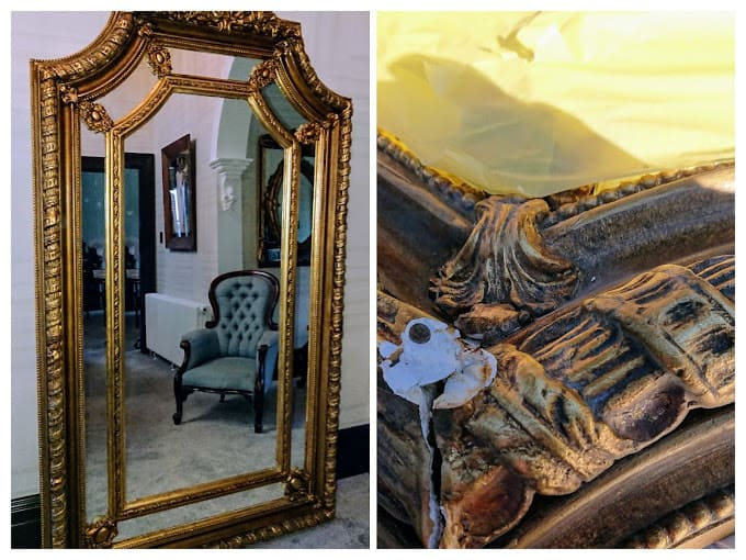 Mirror Badly Damaged in Several Places Restored