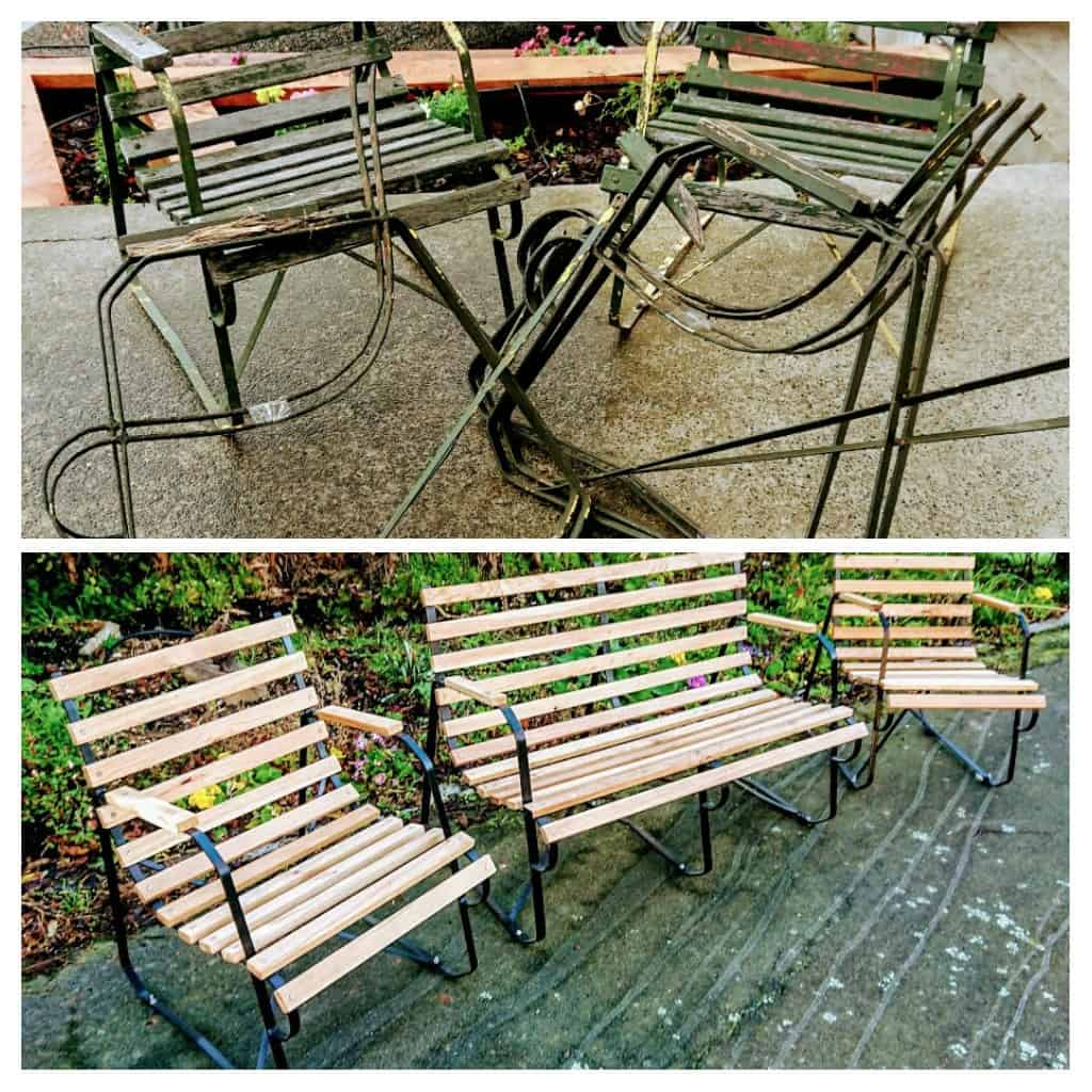 Fully restored old garden seats