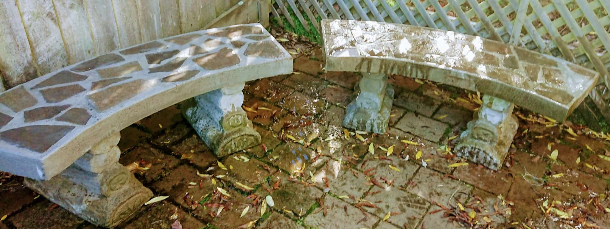 Left bench has been made to replicate other bench using the original stones. Right bench has had broken corner put back on. One of the columns was broken in half and has been repaired.