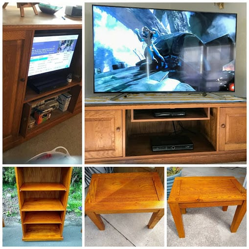 One outdated Entertainment Unit (on the left) turned into a new one as well as three new pieces of furniture