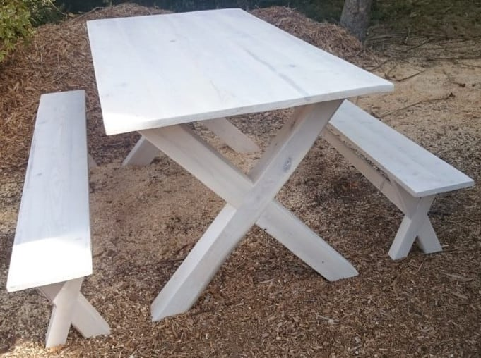 Stained White Pine Table and Benches SOLD