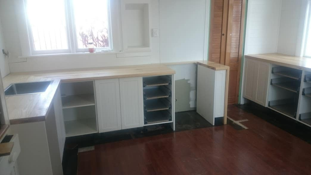 Solid wood kitchen bench