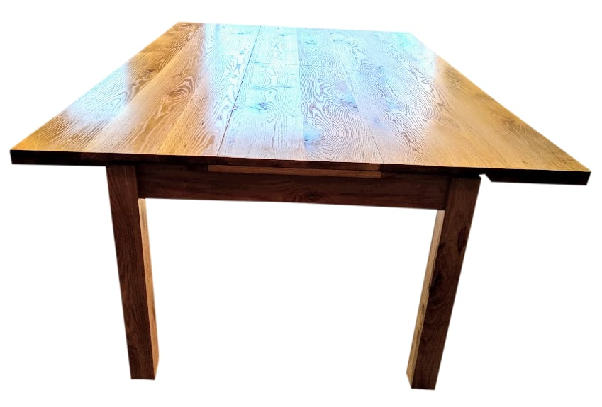 Oak Dining/Games Table extended with middle insert