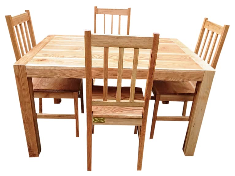 Oak dining table and chairs made to suit a small space