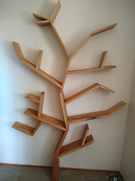Rustic Oak Tree Bookcase