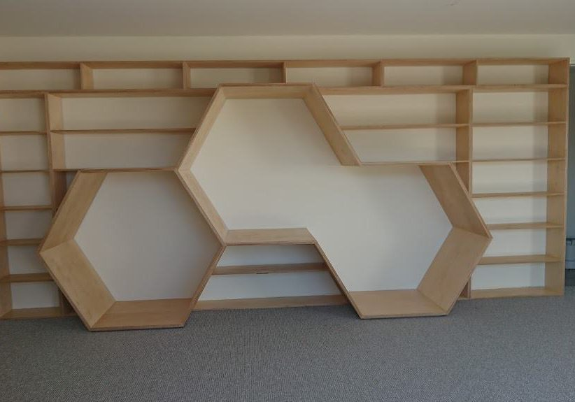 Playroom bookcase with reading nooks (upholstered cushions to be added).